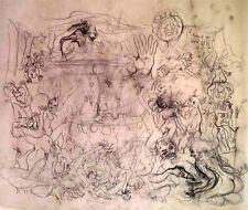 "Julian Ritter- Happy Birthday - Charcoal on Vellum-19""x22"" Un- Signed -510"