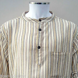 New-Hippy-Boho-Grandad-Nepalese-Casual-Shirt-in-Cream-Stripes-UNISEX