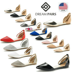 DREAM-PAIRS-Women-039-s-Ballerina-Ballet-Flats-Pointed-Toe-Ankle-Strap-Flat-Shoes