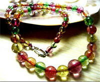 New Natural 6-14mm Multicolor Tourmaline round Beads Necklace 17.5''