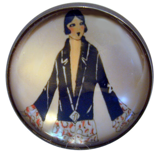 "I/"" Crystal Dome Button 1920-30 Fashion Image #3  FREE US SHIPPING"