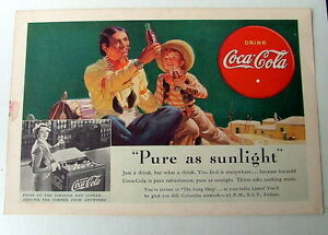 Details about 1938 COKE COLA AD LITTLE COWBOY & INDIAN WITH DRUM DRINKING  COKE NEAR PUEBLO