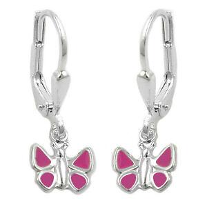 1 Paar Mädchen Creolen Ohrringe mit rosa Schmetterling Hänger Echt Silber 925