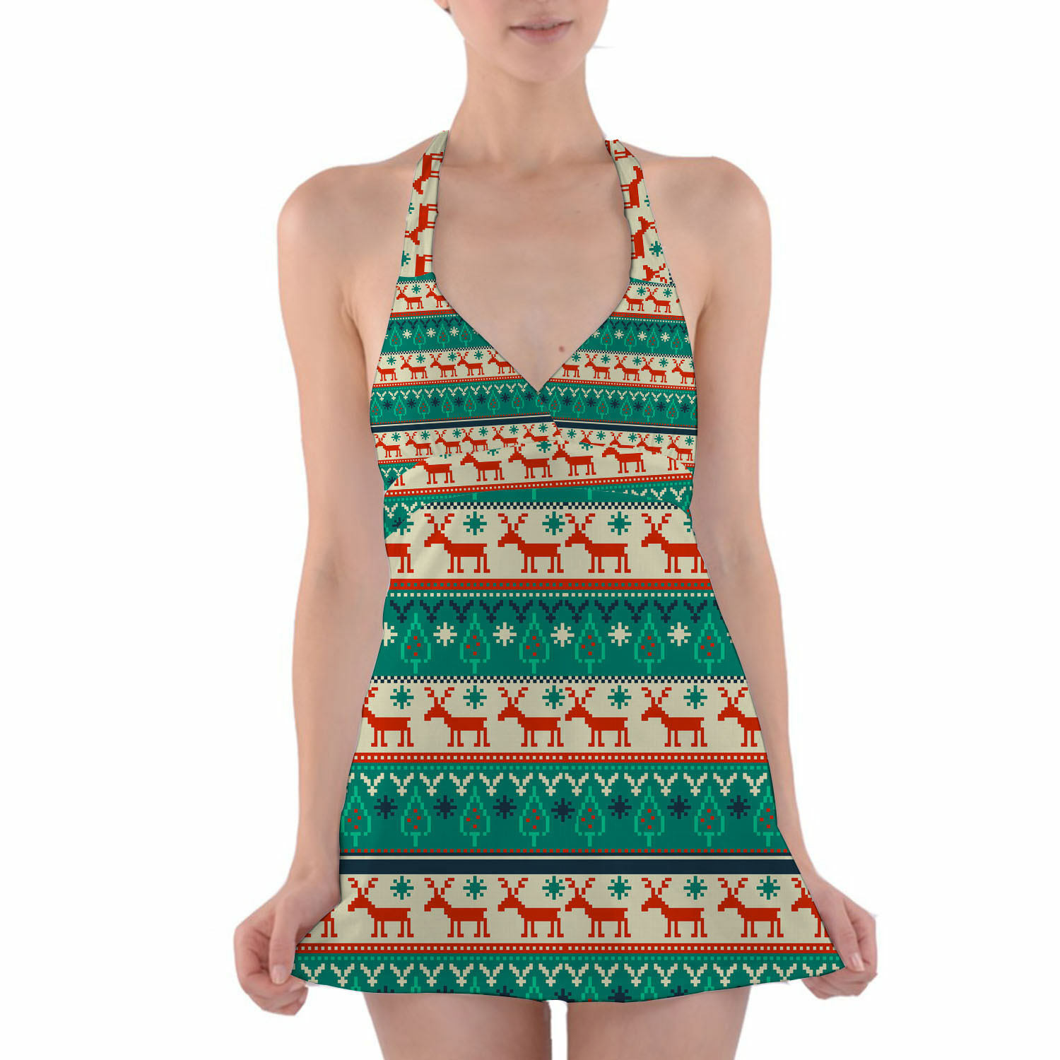 Ugly Christmas Sweater Halter Swim Dress Swimsuit