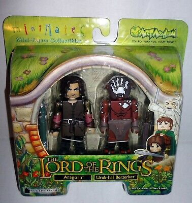 Art Asylum ARAGORN /& URUK-HAI BERZERKER Lord of The Rings Minimates Set