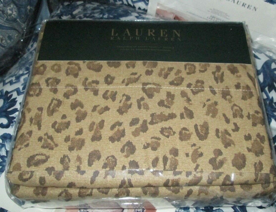 RALPH LAUREN Full Sheet Set 2PC ANIMAL PRINT BROWN