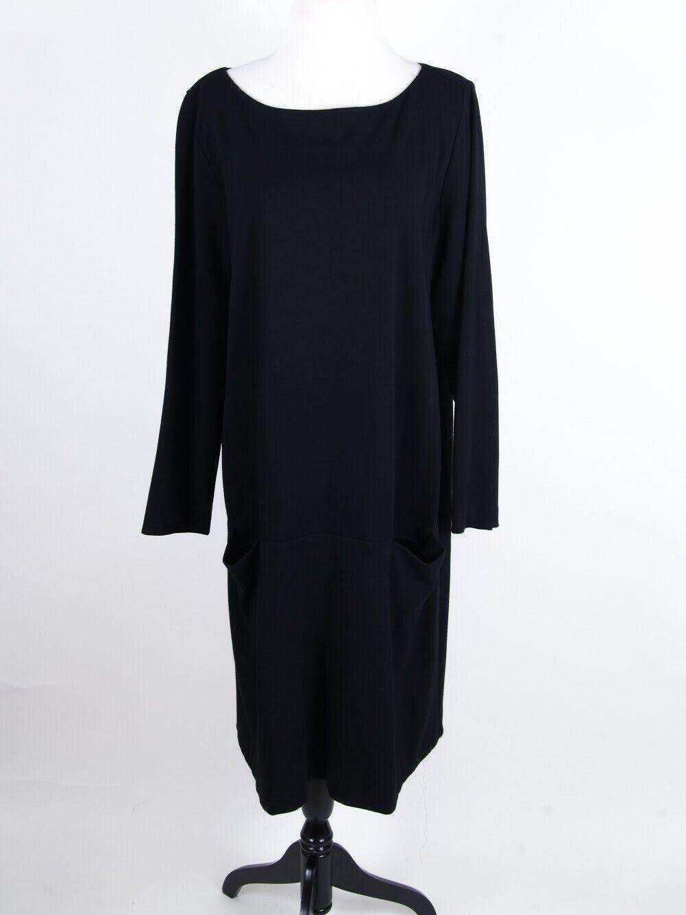Eileen Fisher schwarz Knee Length Stretch Long Sleeve Shift Dress