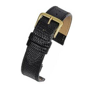 Mens-genuine-real-leather-black-lizard-grain-watch-strap-band-width-18mm