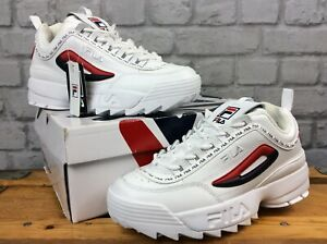 FILA-LADIES-UK-6-5-EU-40-DISRUPTOR-II-REPEAT-WHITE-RED-NAVY-CHUNKY-TRAINERS-EP