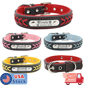 Braided-Custom-Personalized-Dog-Collar-Leather-Padded-Dog-Pet-ID-Name-Collars