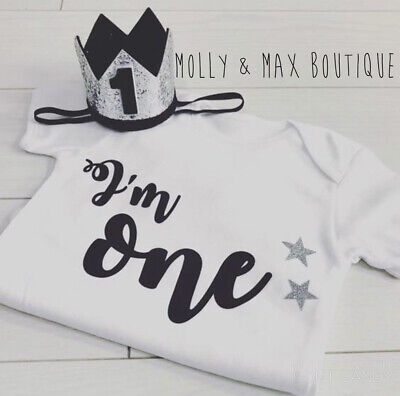 Luxury Boys First 1st Birthday Outfit Cake Smash Set Vest T-Shirt Top /& Crown