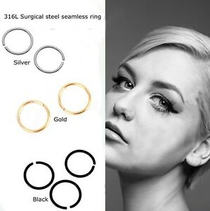 Fake-Nose-Ring-Lip-Body-Parts-Silver-Black-Gold-Multi-Colours-All-Sizes