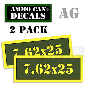 """7.62x25 Ammo Can Labels Pistol Ammunition Decal Sticker 2 pack 3""""x1.15"""" AG"""
