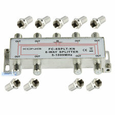 1 IN to 8 OUT TV Aerial Satellite Coaxial Splitter 5-1000 Mhz + 9 CONNECTORS
