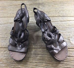 Easy-Spirit-Womens-Brown-Sandals-Size-8-Leather-Shoes-Eshertha