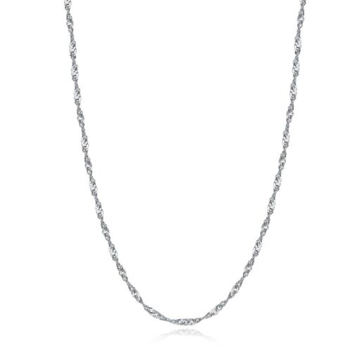 """18/"""" Women Sterling Silver Cable Chain Necklace With Spring Clasp Singapore Style"""