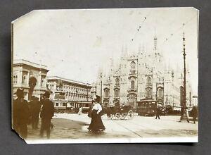 Fotografia-d-039-epoca-Foto-di-Milano-Piazza-del-Duomo-1900-ca