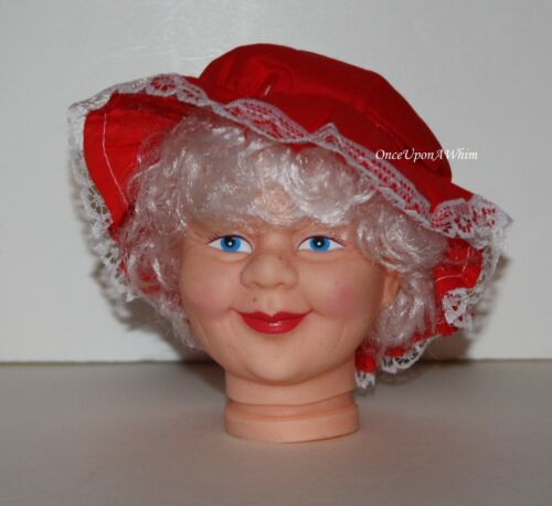 "Mrs Claus 4/"" Christmas Doll Head Rooted-in White Hair with a Red Bonnet NEW"
