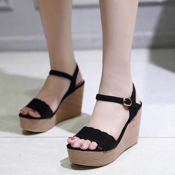 Sandalias como elegantes zuecos cuña zapatillas 13 negro cómodo como Sandalias piel cw840 d452af