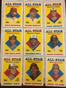 1988 Topps Tiffany All-Star - 9 Card Lot