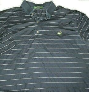 Masters-Mens-Sz-XL-Striped-Amen-Corner-Blue-Short-Sleeve-Golf-Polo-Shirt