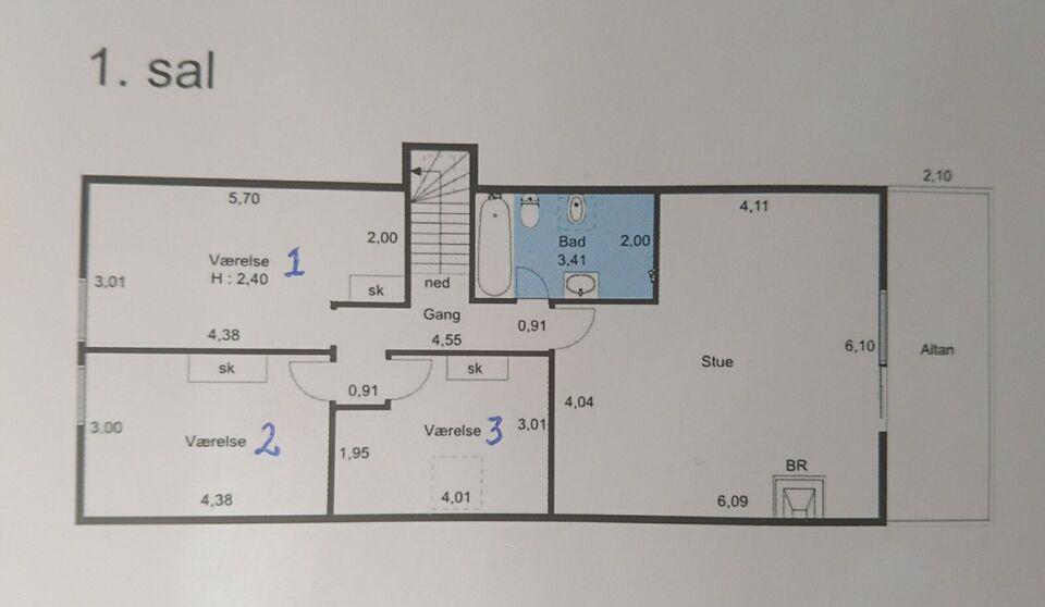 6100 værelse, kvm 15, mdr forudbetalt leje