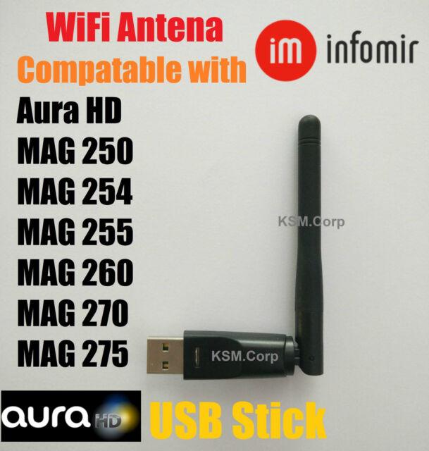 Wireless WiFi USB Dongle Stick Aura HD MAG 250 254 255 270 275 322 IPTV OTT Box
