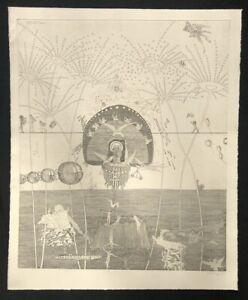 Blalla-W-Hallmann-Hoch-Zeit-und-Feuerwerk-Radierung-1986-handsigniert