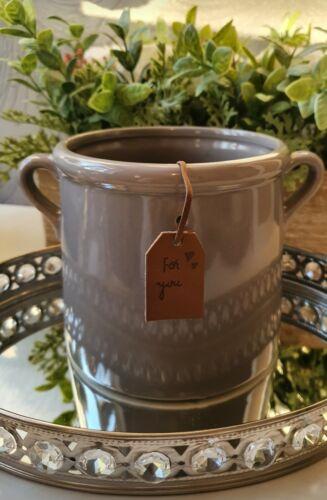 """Gris céramique pot de fleurs avec /""""pour vous/"""" tag 15 cm H × 14 cm D x18 cm W"""