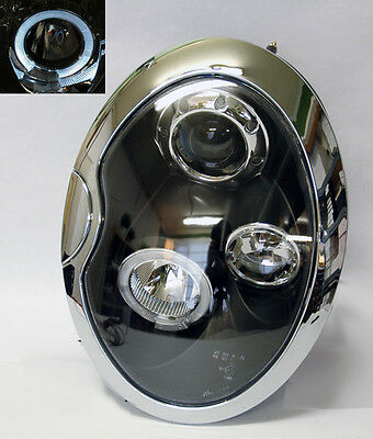 Mini Cooper 2002-2005 Projector Halo Angel Eyes Headlights - Black RH LH PAIR