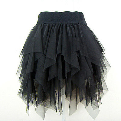 Sexy  Mesh Uneven Cut Layered Tutu Mini Skirt Black
