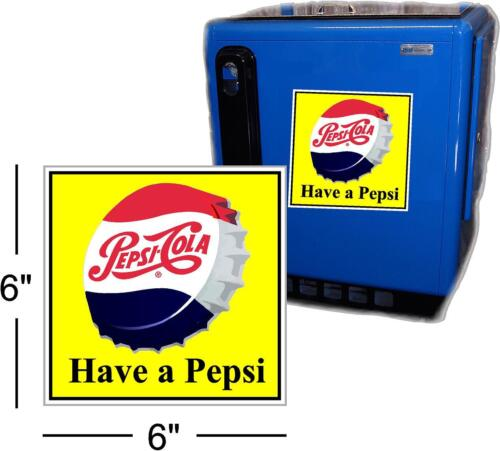 """6/"""" DRINK PEPSI CAP WITH YELLOW BACKGROUND FOR SODA POP VENDING MACHINE COOLER"""