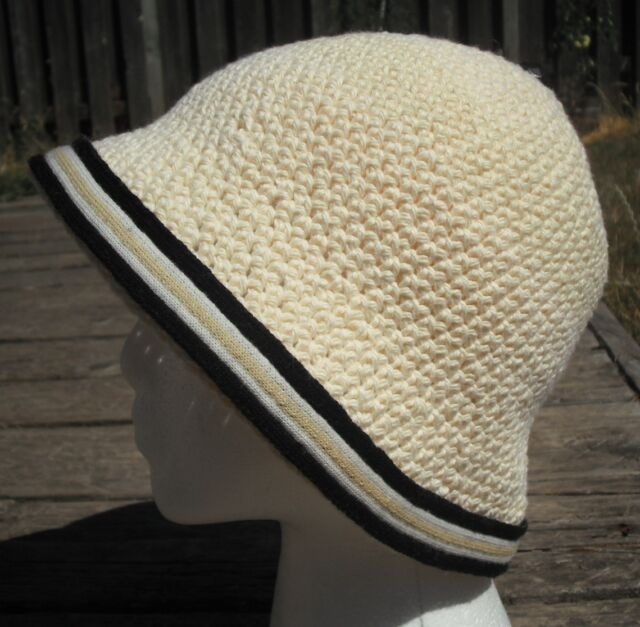 Grand Crocheted Beige Cotton Cloche Hat - Handmade by Michaela