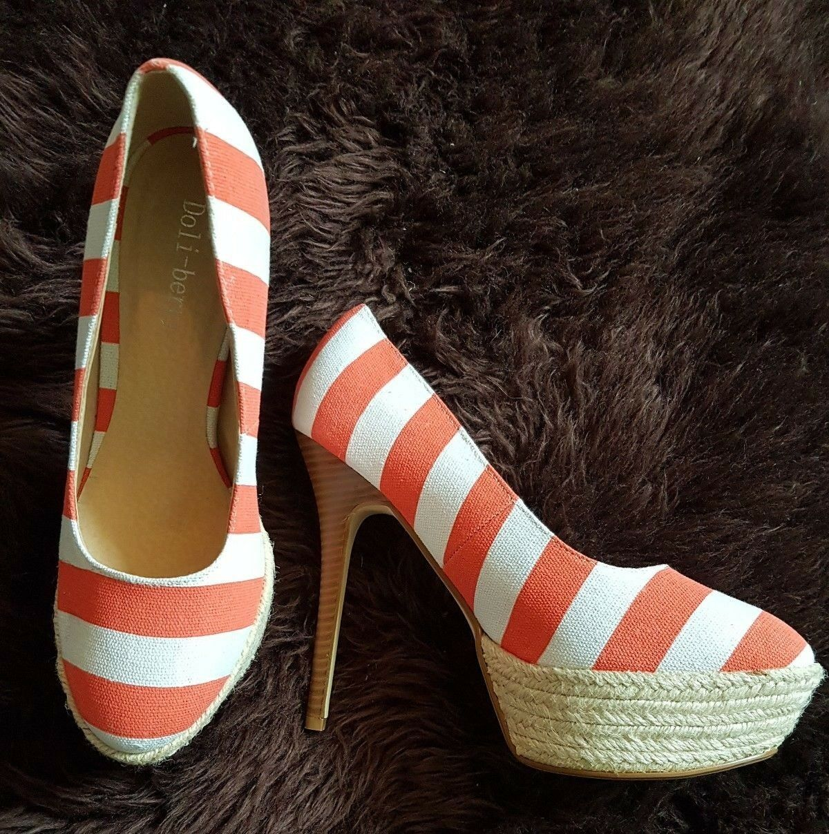 orange and white stripped high heels platform size 38 UK 5
