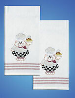 Stamped Embroidery - Tobin Cat Chef Towels (set Of 2) T212939
