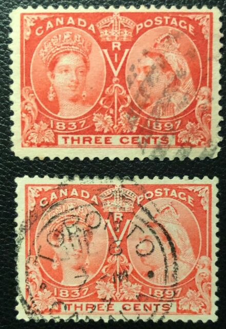 CANADA 1897 QUEEN VICTORIA JUBILEE #s 53, 53i 3 cent BRIGHT ROSE/ROSE USED