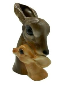Vtg  Royal Copley Fawn and Baby Planter Deer