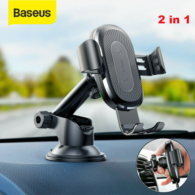 Details about Baseus USB Qi Wireless Car Charger Mount Holder for iPhone XS XR 8 Samsung S10