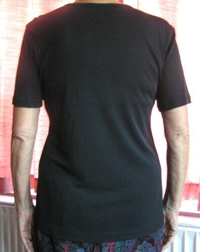 Jean Muir Essentials New SMALL-Noir Long Top-Manches courtes années 1990