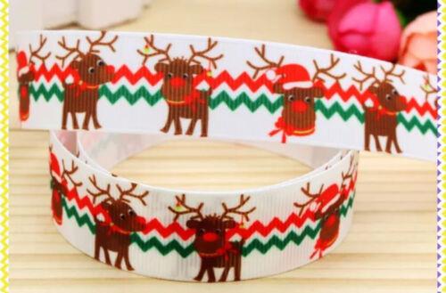 """1M 22mm 7//8/"""" Renos Navidad Cinta del Grosgrain 99p Pastel Fiesta De Navidad Rudolf Rojo"""