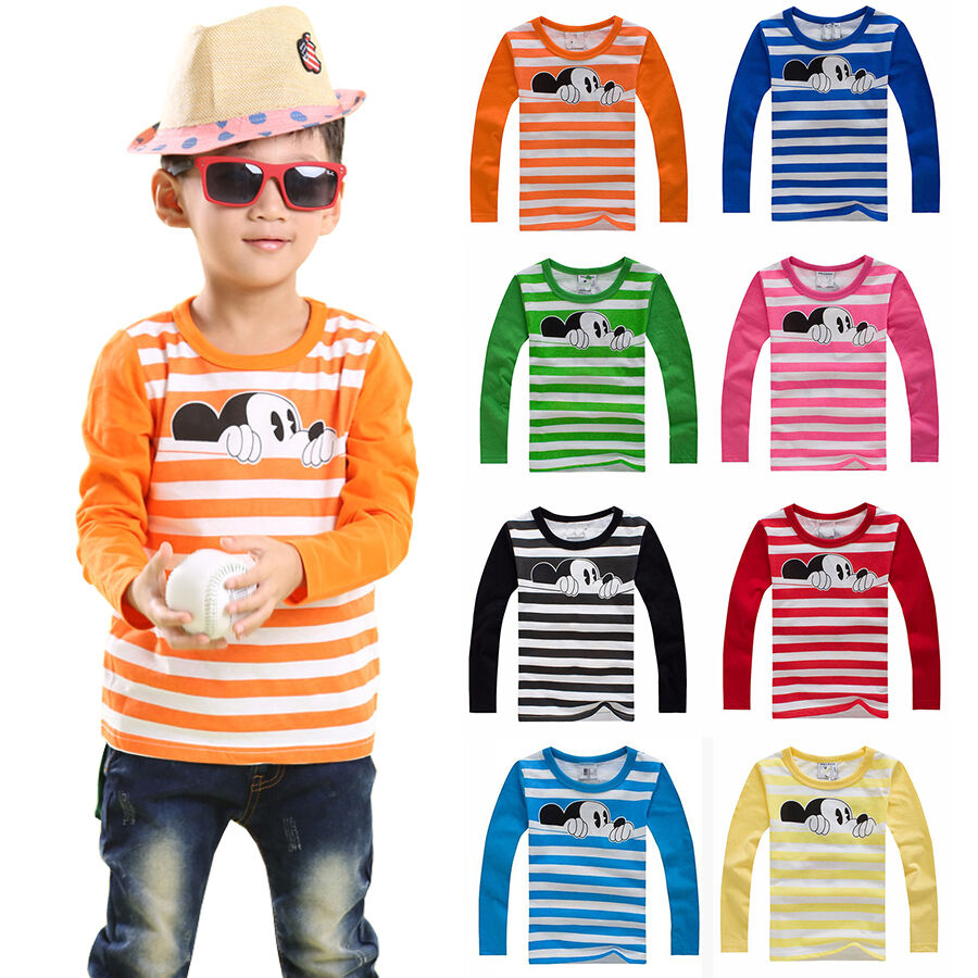 Bambini Topolino Camicia Maniche Lunghe T Shirt Maglietta Righe Maglia