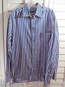 Men-039-s-ERMENEGILDO-ZEGNA-Navy-Blue-100-Cotton-Long-Sleeve-Dress-Shirt-Size-XL