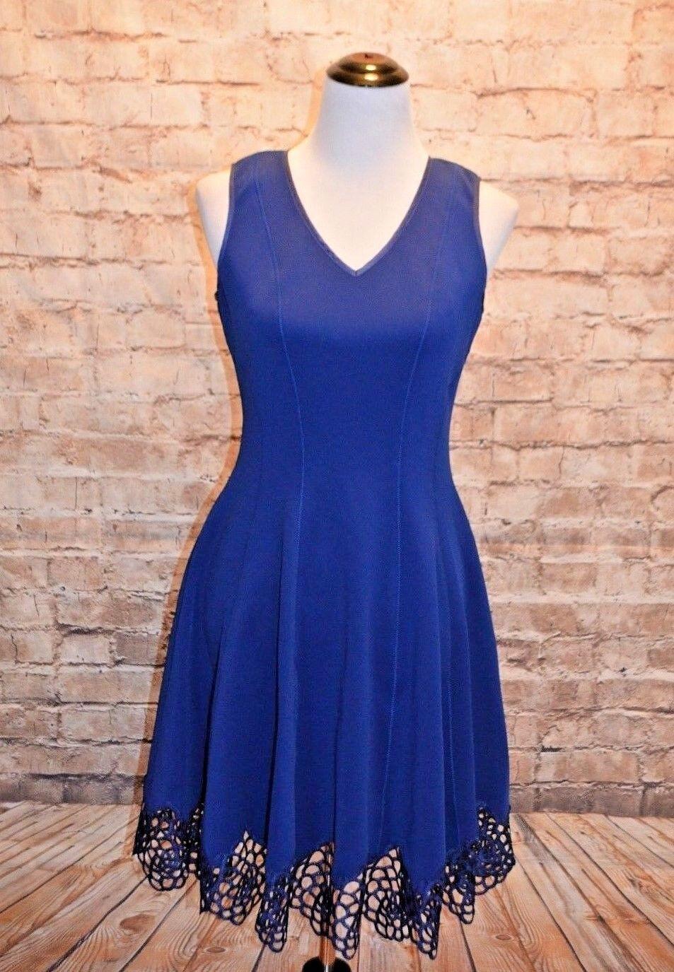 Modcloth Do's & Dotes Dress NWOT 8  140 Sapphire bluee lace hem neoprene