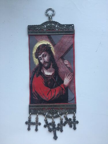 Jesus Christ Carrying the Cross Tapestry Wall Hanging Emmanuel Son of God