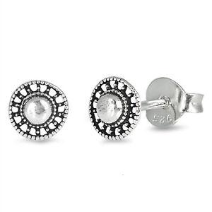 Antique-Round-Bali-Stud-925-Sterling-Silver-Post-Children-Women-Earrings