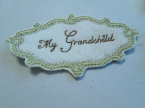 10 x Embroidered My Grandchild Photo Album Card Making Motif Crafts Arts #12A97