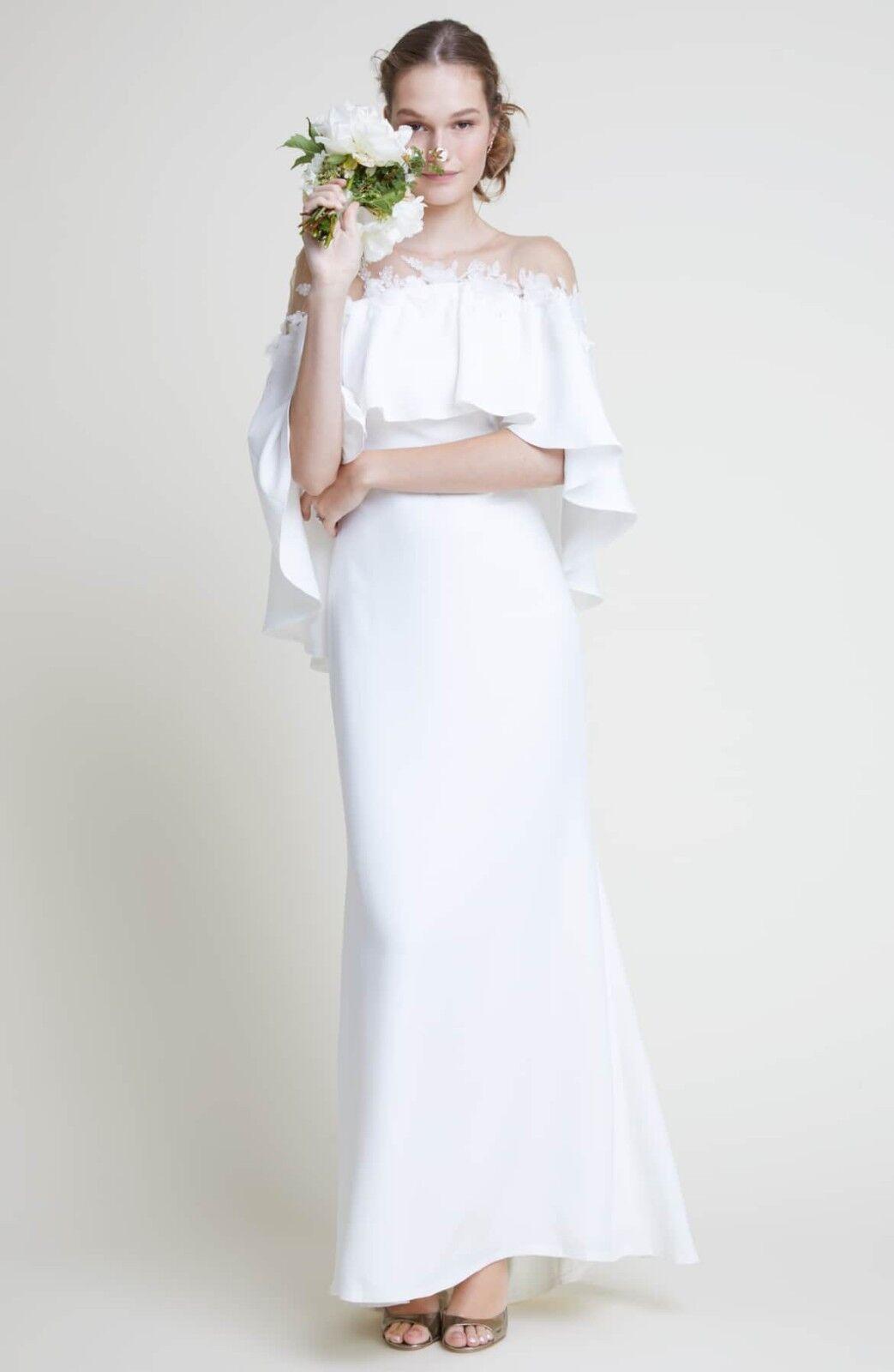 Tadashi Shoji Braut Elfenbein Floral Schulterfrei Popover Athene Abendkleid Abendkleid Abendkleid 2 049424