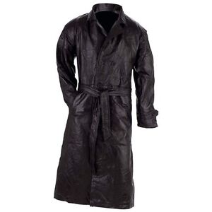 Mens Black Soft Patchwork Leather Trench Coat | eBay