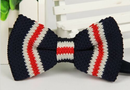 Men/'s Fashion Multi-Colour Striped Bowtie Knit Knitted Pre Tied Bow Tie Woven