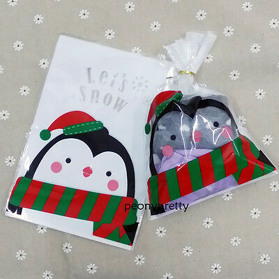 Cute penguin bread food gift treat cellophane cello bags & twist tie party favor